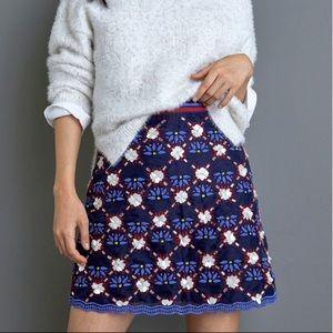 Anthropologie Maeve Beaded Mini Skirt Size 14